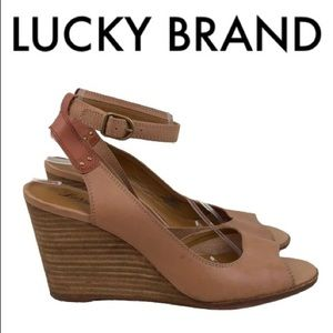LUCKY BRAND BROWN WEDGES SIZE 10
